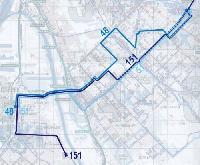A javasolt új vonalcsoport; az egész nap, sűrűn közlekedő 151-est egészíti ki a két rövidebb, mellékirányt kiszolgáló 48-as és 51-es viszonylat (forrás: VEKE)