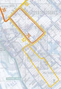 A 30-as villamos rövidített és az 52-es megmaradó vonala Pesterzsébeten (forrás: VEKE)