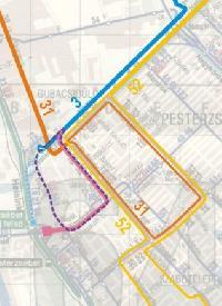 Pesterzsébet központi részének villamoshálózata a 3-as villamos erzsébeti meghosszabbítása után Kék színnel szerepel a 3-as mostani útvonala, rózsazín jelöli a hosszabbítás ideális útvonalát, lila szaggatott az esetlegesen e helyett megvalósuló Baross utcai hurkot, s világoskék a más megoldások hiányában ideiglenesen megépíthetó egyvágányú meghosszabbítást.  (forrás: VEKE)