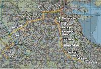 A térképvázlaton a dublini Red és Green Line villamosvonalak útvonala látható. (forrás: http://www.alstom.com)