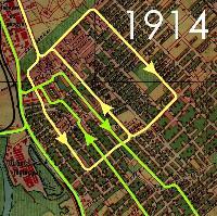 A vágányhálózat 1914-ben.