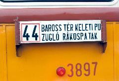 A 44-es villamos iránytáblája., Budapest (forrás: VEKE)