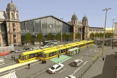 Az átépített Nyugati téri megálló a combinókkal a BKV egyik régebbi látványtervén. Ekkor még csak a kerekesszékeseknek kijelölt ajtóknál szerették volna megemelni a peront. (forrás: BKV)