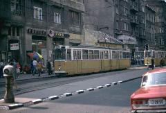 A baleset miatt kiszedett középrészű 1371 a Népszínház utcában, Népszínház utca, Budapest (forrás: Heinz Haider)