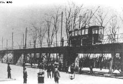 A BURV egyvágányú vasúti felüljárója. (forrás: A főváros tömegközlekedésének másfél évszázada)