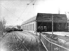 Az Újpesti kocsiszín a BKVT idejében. (forrás: A főváros tömegközlekedésének másfél évszázada)