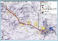 Az elővárosi villamosvonal tervezett vonala (piros). Mulhouse belterületén a zöld vonalak a városi villamosvonalakat jelölik. (forrás: http://www.sitram.net)