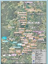 A Mulhouse-ról készült  műholdképre berajzolták a villamosvonalak tervezett vonalát. Sárgával a városi villamosvonalak, kékkel az elővárosi villamosvonal belterületi szakasza, míg lilával a projekt befejezése (2010) utáni esetleges további meghosszabbítás látszik. A térképen a három P+R parkoló és a kocsiszín is megtalálható (legalsó jel a jelmagyarázatban). (forrás: http://www.sitram.net)