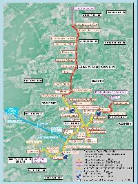 A tervezett vonalhálózat a megvalósítás ideje szerint szinezve. A villamosvonalak közül sárga színnel az első ütemben, 2005-re elkészülő szakaszok, pirossal a 2005 és 2010 között átadásra kerülő vonalszakaszok vannak jelölve. A kék továbbra is a 2007-ben elkészülő TramTrain vonal, míg a lila és a narancssárga szakaszok a 2010 utáni további villamosvonal-hosszabbításokat jelölik. (forrás: http://www.sitram.net)