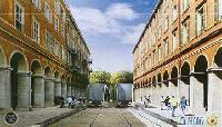 A Jean Medicin utca, amelynek árkádjai közé a jövőben a gyalogosokon kívül kizárólag a villamosok hajthatnak be. (forrás: http://www.tramway-nice.org/)