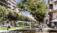 A St. Roch sugárút látványterve a villamos megépülése után. (forrás: http://www.tramway-nice.org/)