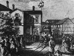 Az első pesti lóvasút megnyitása, 1866. (forrás: Németh Zoltán Ádám gyűjteménye)