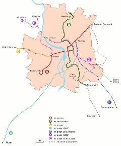 Toulouse kötöttpályás közlekedési hálózata a meglévő és tervezett vonalakkal, Toulouse (forrás: www.railway-technology.com)