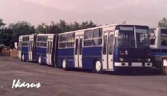 Ikarus 293 BKV színekben Pécsett, a Pannon Volán telephelyén. (forrás: www.ikarusbus.cz)