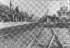 A csepeli HÉV végállomás és kocsiszín a 60-as években. (forrás: Németh Zoltán Ádám gyűjteménye)