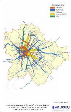 Budapest közforgalmú közlekedésének utasforgalma. Jól látható a jelenleg buszokkal (51, 151, 48) kiszolgált Csepel-Határ úti HÉV nyomvonala. (forrás: Transman Kft.)
