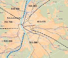 Az agglomerációs járatok számmezői térképen (forrás: BKSZ Kht.)