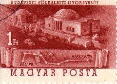 Ezen az 1953-ban kiadott bélyegen jól látható, hogy a kettes metrót eredetileg a Népstadionig tervezték megépíteni, ahol kénylmesebben lehetett volna a HÉV-ről a metróra átszállni. (forrás: Feld István Márton)