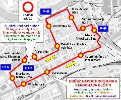 A city-busz útvonala: a Belváros valamennyi fontos pontját érinti (forrás: Kisalföld Volán Zrt.)