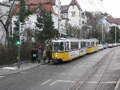 A háromsínes pálya a nosztalgiacélokat szolgálja, később rendszeres járat fog közlekedni Bad Canstatt és Ruhbank végállomás között., Stuttgart (forrás: Müller Péter)