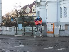 Tegnapelőtt megszűnt a villamosközlekedés, tegnap elbontották a régi megállót…, Stuttgart (forrás: Müller Péter)