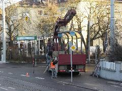 ...ma pedig el is szállították. Hétfő reggelre egyes helyeken szinte nyoma sem maradt a villamosnak., Stuttgart (forrás: Müller Péter)