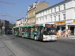 Am Markt megálló előtt a belvárosban. Itt ágazik szét a két trolibuszvonal., Belváros, Eberswalde (forrás: Müller Péter)