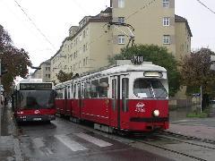 Elderschplatz: A kiállítási terület rendezvényeire eddig a 21-es villamos mellett a 81-es szállította az utasokat. Ma már a metró., Elderschplatz, Bécs (forrás: Müller Péter)