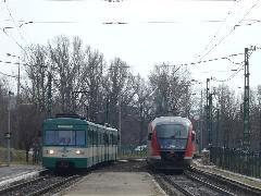 Vonatok találkozása. A zöld Békásmegyer, a piros a Margit híd felé halad - utóbbi egyelőre próbamenetben. (forrás: Friedl Ferenc)