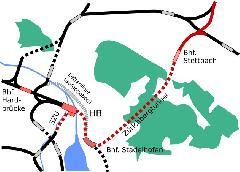 Az S-Bahn belvárosi hálózata. A piros vonalak jelzik az új építésű szakaszokat, Zürich (forrás: Wikipedia)