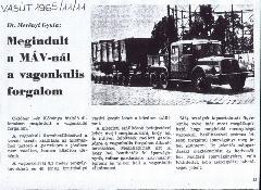 Korabeli újságcikk a vagonkuli-forgalom megindulásáról (forrás: Lossonczy Miklós gyűjteménye)