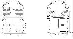 A motorvonat keresztmetszete a kocsi belsejében ill. a lépcsőknél (forrás: SBB)