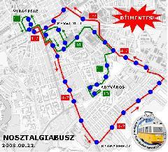 Nosztalgiajárat útvonalak, Győr (forrás: VEKE)