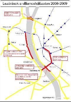 A belváros villamoshálózata - pirossal az egyidejűleg lezárt szakaszok. (forrás: VEKE)