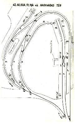 A Nagyvárad téri végállomás elrendezése 1977-ben. A belváros felé vezető vágányokat részben az 50-es villamos fejvégállomásává, részben pedig tárlóvágánnyá alakították. A 42-es és az 51-es (illetve a 13-as) villamosok a hurokvágányon fordultak meg, előbbinek az V-ös, utóbbinak pedig a IV-es peron volt a felszállóhelye. (forrás: Villamos végállomások forgalmi rendje BKV, 1977.)