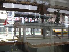 Villamospálya makettje látható az egyik kiállított villamos utasterében., Hága (forrás: Sparing Dániel)