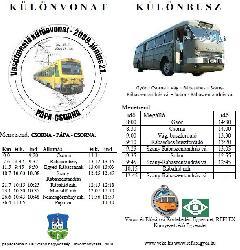 Meghívó és menetrend a különvonatozásra, Győr (forrás: VEKE)