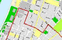 A 75-ös trolibusz módosított útvonalát ábrázoló térképvázlat az 1980-as évek elejéről.