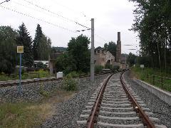 A villamosvonal Altchemnitz végállomásánál egyesítették a vasutat és a villamost., Chemnitz (forrás: Müller Péter)