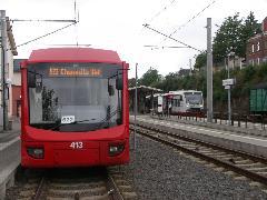 Stollberg és Chemnitz között 30 perces követés van, míg St. Egidien felé 60 perces. Az átszállás biztosítva van a két viszonylat között., Chemnitz (forrás: Müller Péter)