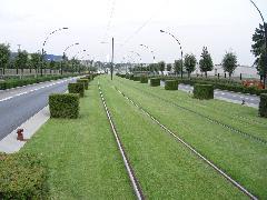 A füves vágányon túl kockabokrok övezik a villamospályát a dizájn részeként, Nantes egyik külvárosában - nem valószínű, hogy Budapesten ennek karbantartása lehetséges volna és időszerű. (forrás: Vitézy Dávid)