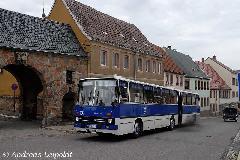 A cottbusiak 1989-es Ikarus 280.03-asa. A füst a nosztalgiajárműveknél megszokott, a napi közlekedésben inkább zavaró. (forrás: Andreas Leipoldt)