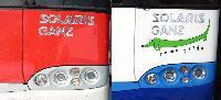 Egy BKV szóló és egy rigai csuklós Ganz Solaris trolibusz homlokfala a Ganz Transelektro Közlekedési Rt. telephelyén., Ikarus Mátyásföldi telepe, 22-es csarnok, XVI. ker. Margit u., Budapest (forrás: Istvánfi Péter/Szigeti Dániel)