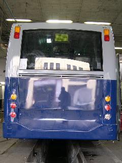 BKV kivitelű Alfa Busz B7RLE-Localo hátfala, Alfa Busz Kft telephelye, Ikarus gyártelep, Székesfehérvár (forrás: Istvánfi Péter)