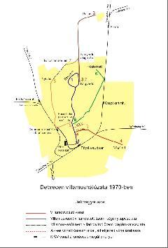 Debrecen villamoshálózata 1950-1970 között, Debrecen (forrás: Fodor Illés)