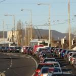 5. ábra: A buszsáv megvalósult, a trolik azonban továbbra is a szélső sávban közlekedtek a felsővezeték át nem helyezése miatt