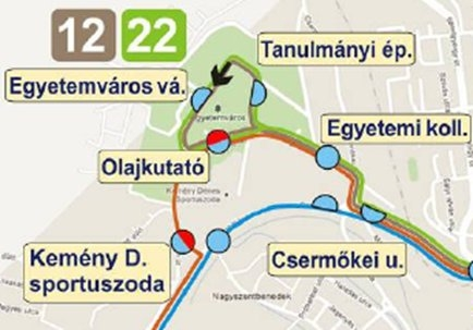Az Egyetemvárost érintő járatok útvonalai a menetrendi változásokról tájékoztató kiadvány szerint