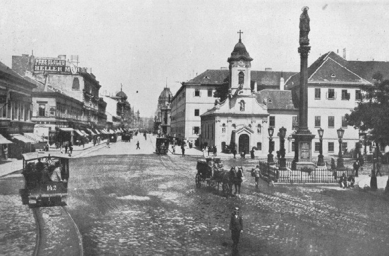 A Rókus kórház környéke a lóvasút időszakában (forrás: Budapest tömegközlekedésének másfél évszázada)